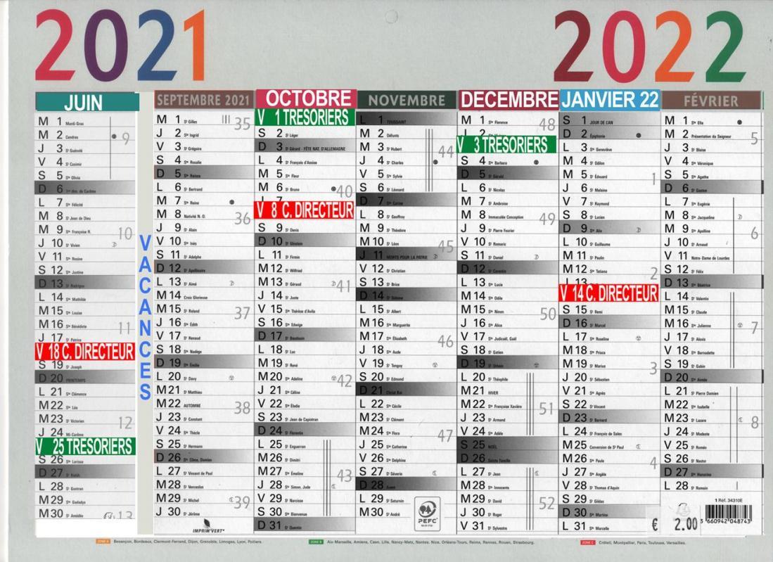 2021 2022 calendrier